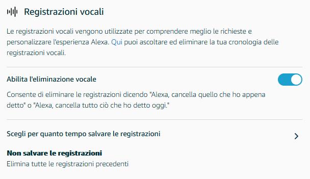impostazioni privacy alexa amazon registrazioni vocali