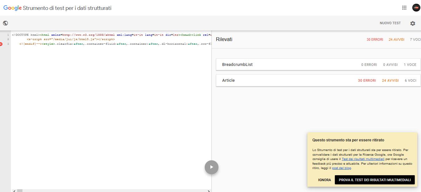 strumento test dati strutturati google